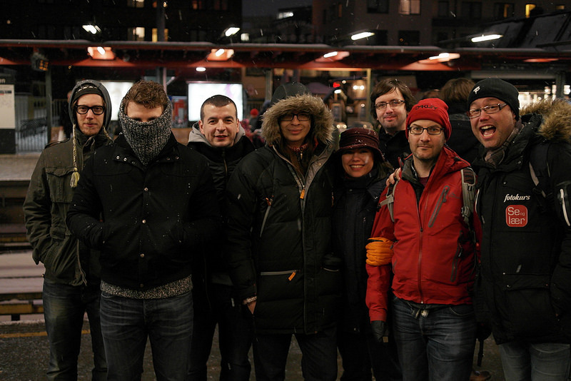 "A few of us were brave enough to venture out into the cold at WordCamp Norway 2014. Photo Credit: Andrey ""Rarst"" Savchenko"